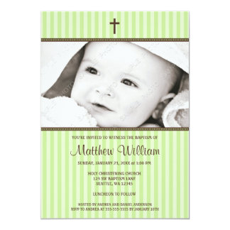 Green Stripes and Brown Cross Photo Baptism 5x7 Paper Invitation Card