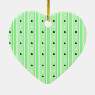 Green Stripes And Dots Pattern Ornament