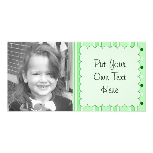 Green Stripes And Dots Pattern Custom Photo Card