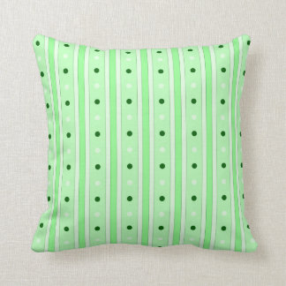 Green Stripes And Dots Pattern Pillow