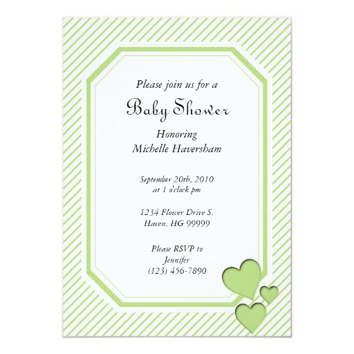 Green Stripes and Hearts Baby Shower Invitation