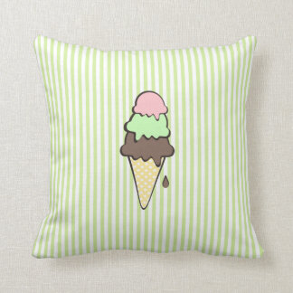 Green Stripes and Ice Cream Cone Throw Pillow