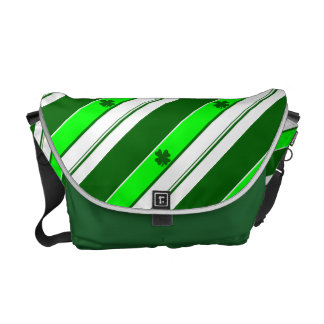 Green Stripes and Lucky Shamrocks Courier Bag