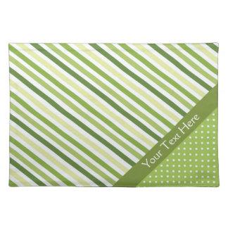 Green Stripes and Polka Dots Cloth Place Mat