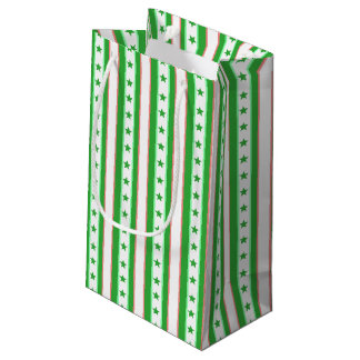 Green Stripes and Stars Patterned Small Gift Bag