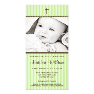 Green Stripes Brown Cross Baptism Photo Card
