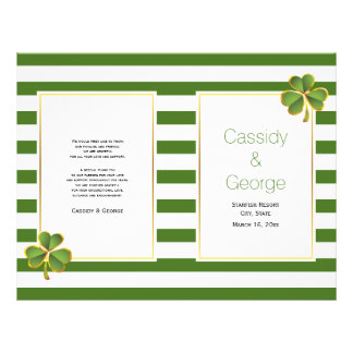 Green stripes clover folded Irish wedding program