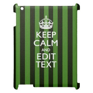 Green Stripes Decor Keep Calm Your Text iPad Cases