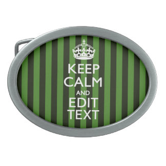 Green Stripes Decor Keep Calm Your Text Oval Belt Buckle