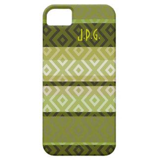 Green Stripes Diamond Pattern Monogram iPhone Case iPhone 5 Cover