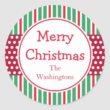 Christmas Themed Green Stripes Dots Holiday Christmas Stickers