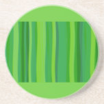Green Stripes Drink Coasters
