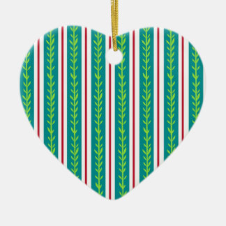 Green Stripes Flora Ceramic Ornament