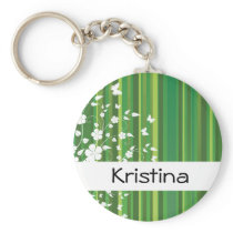 Green Stripes Floral Personalized Name  Keychain