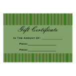 Green Stripes Gift Certificate Business Card Template