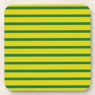 Green Stripes Gold Background Coasters