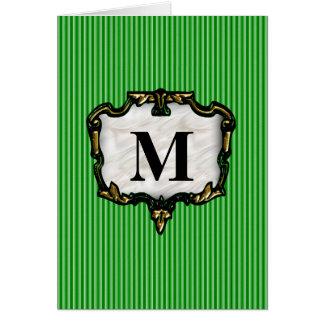 Green Stripes, Gold Monogram Card