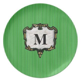 Green Stripes Gold Monogram Party Plates