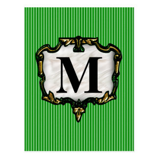 Green Stripes, Gold Monogram Postcard
