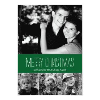 Green Stripes Happy Holidays Photo Card Invite