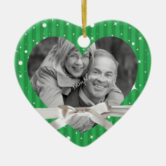 Green Stripes Holiday Couple Photo in Heart Shape Double-Sided Heart Ceramic Christmas Ornament