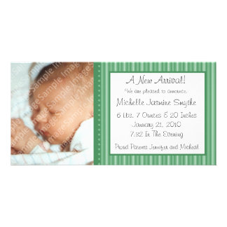 Green Stripes New Baby Photo Card
