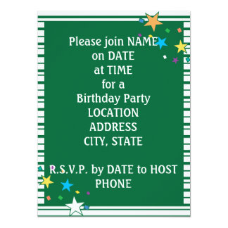 Green Stripes Oval Party Collage Invitation