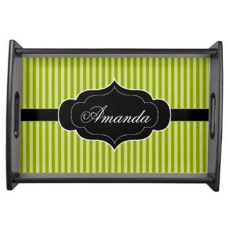 Green Stripes Pattern Black Banner Custom Name Food Trays