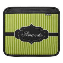 Green Stripes Pattern Black Banner Custom Name Sleeve For iPads