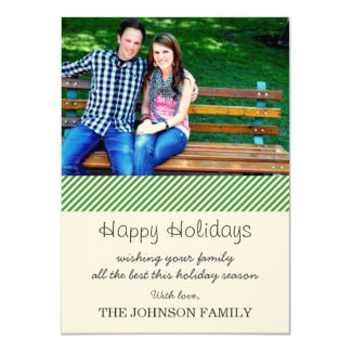 Green Stripes Photo Christmas Cards