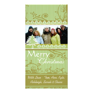 Green Stripes Pine Swirl Holiday Family Pictures Card