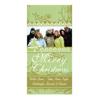 Green Stripes Pine Swirl Holiday Family Pictures Photo Card