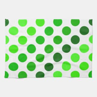 Green Stripes Polka Dot Pattern Kitchen Towels
