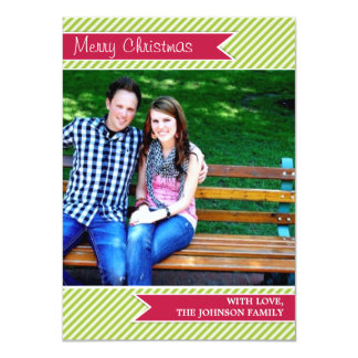Green Stripes Red Ribbon Photo Christmas Cards