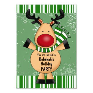 Green Stripes Reindeer Holiday Party Card
