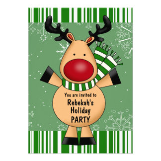 Green Stripes Reindeer Holiday Party Invitations