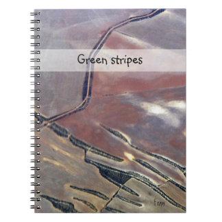 green stripes spiral notebooks