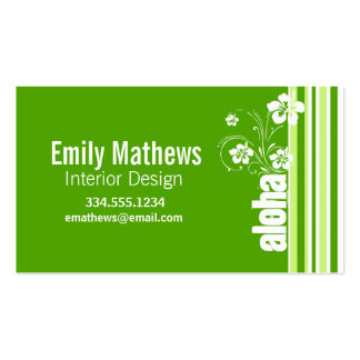 Green Stripes; Striped; Aloha Double-Sided Standard Business Cards (Pack Of 100)