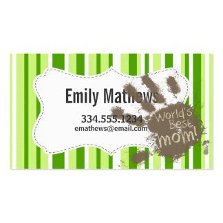 Green Stripes; Striped; Funny Mom Business Card