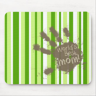 Green Stripes; Striped; Funny Mom Mouse Pad