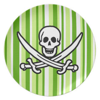 Green Stripes; Striped Jolly Roger; Pirate Plates