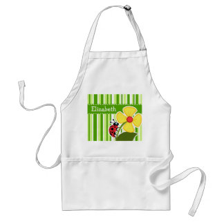 Green Stripes; Striped; Ladybug Adult Apron