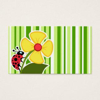 Green Stripes; Striped; Ladybug Business Card