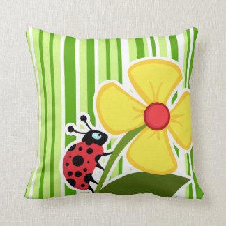 Green Stripes; Striped; Ladybug Pillow