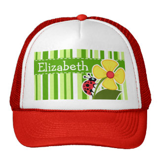 Green Stripes; Striped; Ladybug Trucker Hat