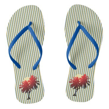 Green Stripes Sunset Palm Trees Tropical Vacation Flip Flops