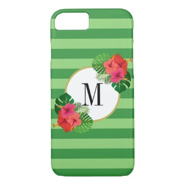 Green Stripes Tropical Leaves Flowers Monogram iPhone 8/7 Case