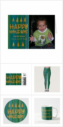 Green Stripes w/ Faux Gold Foil Christms Trees