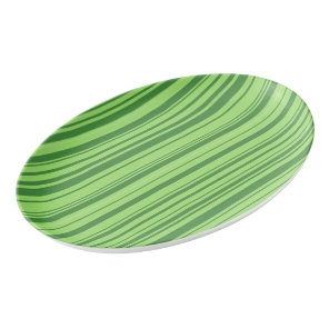 Green Stripes Watermelon Skin Porcelain Serving Platter