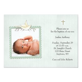 Green Stripes, White Dove, Religious Photo Card
